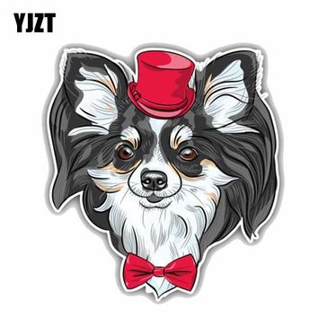 YJZT 14CMx15.4CM Funny Hipster Chihuahua Dog Animal Pet Creative Fashion PVC Car Sticker C1-9049