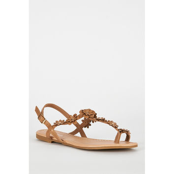 Beige Flower Detail Strappy Toe Post Flat Sandals