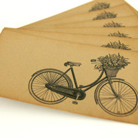 Gift Hang Tag Bicycle with Basket of Flowers set by PinkiesPalace