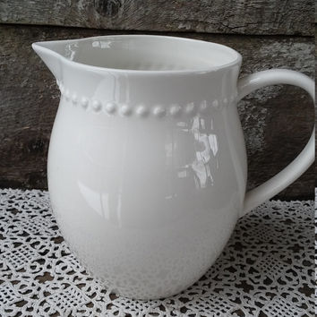 "White Pitcher, Large 7"" tall,  Serving Pitcher, Beaded Trim, Pottery, Earthenware, Stoneware, Glazed, Farmhouse Decor"