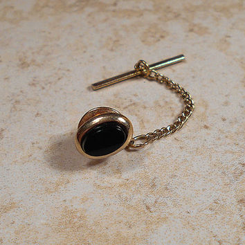 Swank Black Vintage Tie Tack Lapel Pin Tack Pin Gold Tone Oval Mens Formal Jewelry Accessories Groom Best Man Gift