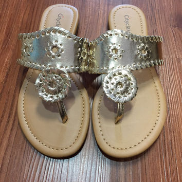 Jack Rogers Inspired Sandals - Gold