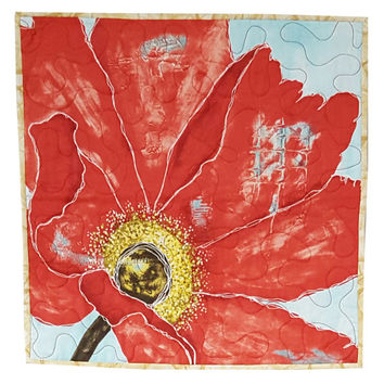 Wall Quilt Red Cosmos Flower Abstract Art