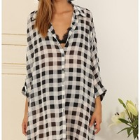 Tops > Gingham Check Buttoned Top