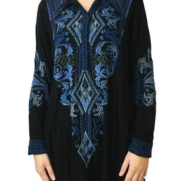 LMFYW3 Johnny Was Maxence Challis Blouse Black