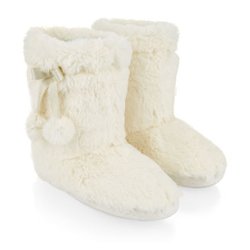 Accessorize | Supersoft Boot Slippers | Cream