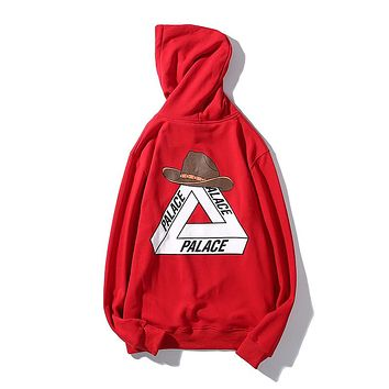 PALACE 2018 new cowboy hat triangle print fashion hoodie Red