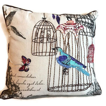 Hand Embroidered pillow, Birdhouse cushion, Completed embroidery toss pillow cover, Quote pillow,  Butterfly, birds, Gift for her