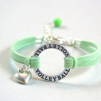 Pick Color/Size, Silver Volleyball Bracelet Faux Suede Leather Cord, Volleyball Sport Bracelet, Charm Jewelry, Gift For Her, Shop Canada 755
