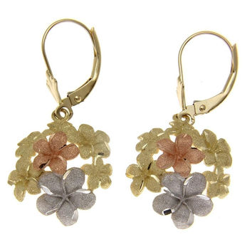 SOLID 14K YELLOW ROSE WHITE TRICOLOR GOLD HAWAIIAN PLUMERIA LEVERBACK EARRINGS