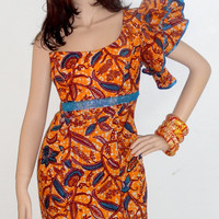 One Shoulder Dress with Orange and Blue Wax Print