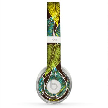 The Gold & Yellow Seamless Leaves Illustration Skin for the Beats by Dre Solo 2 Headphones