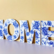 Wooden Sign Word HOME - made in Israel Monogram Initial Home Decor - White Blue Floral