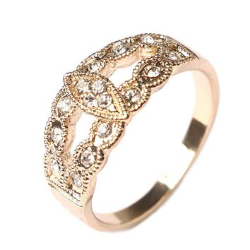 CZ Crystal Vintage Boho Style Leaf Wedding Rings For Women