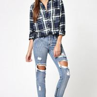 Kendall and Kylie Lake Blue Ankle Zip Ripped Girlfriend Jeans at PacSun.com