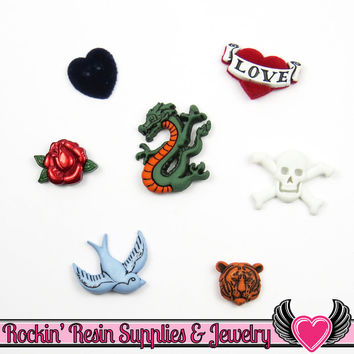 Jesse James Buttons 7pc RETRO NOSTALGIA Tiger, Bird, Dragon Tattoo, Skull, Rose, Heart Buttons