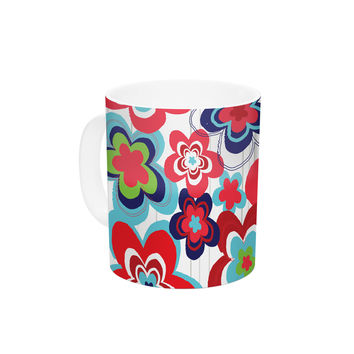 "Jolene Heckman ""A Cheerful Morning"" Blue Red Ceramic Coffee Mug"