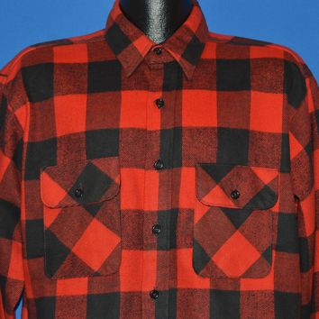 80s Five Brother Checkered Flannel Work shirt Large