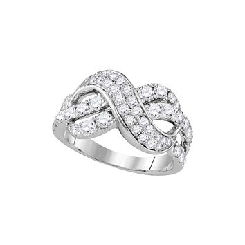 14kt White Gold Womens Round Pave-set Diamond Infinity Crossover Band 1-1/2 Cttw