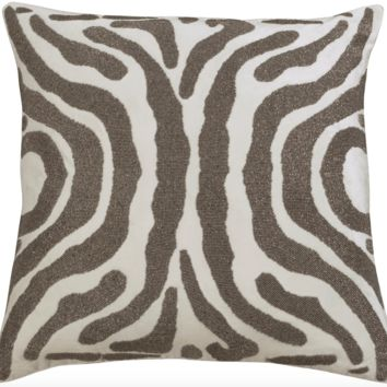 Zebra Ivory and Pewter Square Pillow by Lili Alessandra