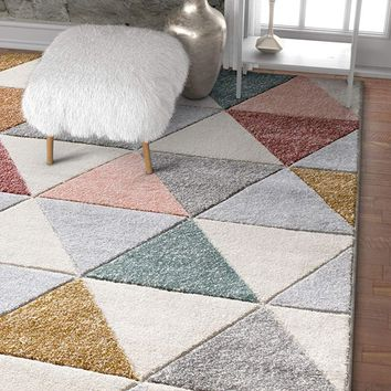7060 Multi Color Hand Carved Geometric Contemporary Area Rugs