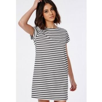 Missguided - Striped T-Shirt Dress Monochrome
