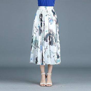 Floral Print High Waist Pleated Maxi Swing Skirt