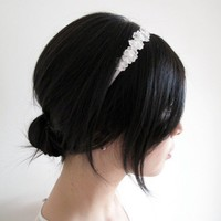 Annalise - Bridal daisy lace and silk ribbon wrapped headband with Swarovski pearls | Percy Handmade