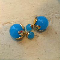 Turquoise Blue and Gold Double Sided Stud Earrings