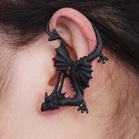 Gothic punk dragon earring(1 piece),Dragon earring,ouroboros,Dragon,Dragon gauge,Dragon earring,dragon ear wrap,Dragon Wrap Earrings.E957502
