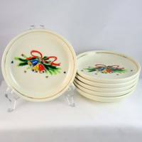 Salem China Christmas Eve coasters Viktor Schreckengost bells evergreens vintage