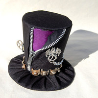 Tiny Top Hat Punk Dragon Purple Black zipper by littlecasaroo