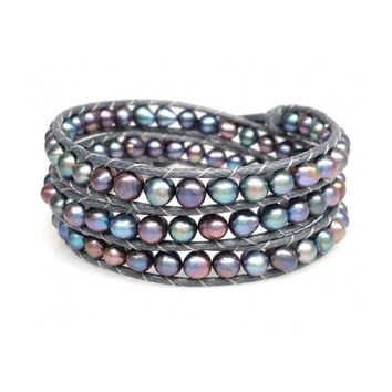 Indigo Fresh Water Blue Pearl Wrap Bracelet