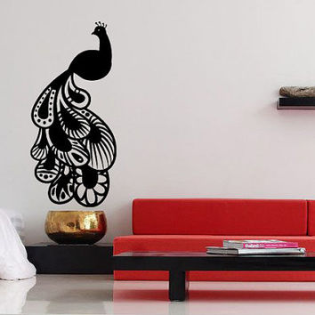 Decor Vinyl Sticker Room Decal Art Design Tattoo Beautiful Peacock Bird 668