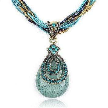 Women Jewelry Drop Gem with Crystal Around Bohemia Style Multilayer Beads Chain Handmade Retro Necklace