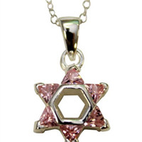 "Silver Star of David with Pink Color Stones Necklace - Chain 18"" Pendant 1/2""W X 1""H"