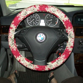 Black Cabbage Roses Steering Wheel Cover