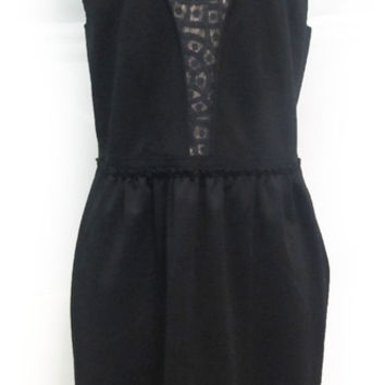 Rebecca Taylor Black Sleeveless Lace And Ponte Sheath Dress Sz 10