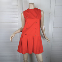 60's Scooter Dress in Red- Pleated Mini Dress- Anime Cosplay- Sleeveless Small- 1960's