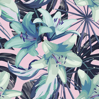 Neon Flowers Removable Wallpaper