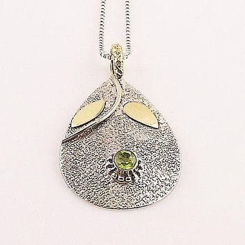 Peridot Two Tone Sterling Silver Leaf Pendant