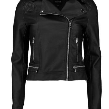 Faux Leather Biker Jacket With Quilt Detail | Boohoo