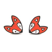 Orange Baby Fox Shaped Stud Earrings in Silver | Animal Jewelry