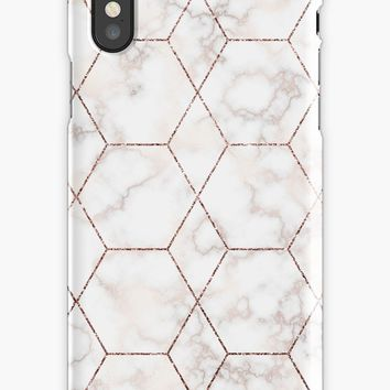'White marble and rose gold geometric pattern' iPhone Case by Quaintrelle
