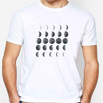 Lunar Phases Calendar Tshirt - Midnight Full Moon FD Mens T-shirt Black and White
