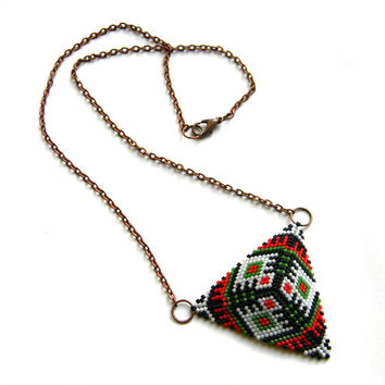Upside down triangle necklace Colorful geometric triangle pendant Statement triangle beaded necklace Ethnic style seed bead jewelry Boho
