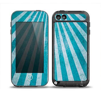 The Scratched Striped Blue Rays Skin for the iPod Touch 5th Generation frē LifeProof Case