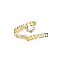 10k Yellow Gold CZ Paved Solitaire Toe Ring | Body Candy Body Jewelry