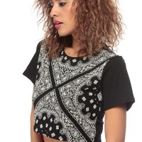 Black Wild About Paisley Print Crop Top