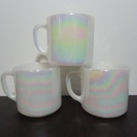 Vintage Federal Glass White Iridescent Milk Glass Coffee Mugs - Set of 3 - Opalescent, or Pearly White Coffee Mug